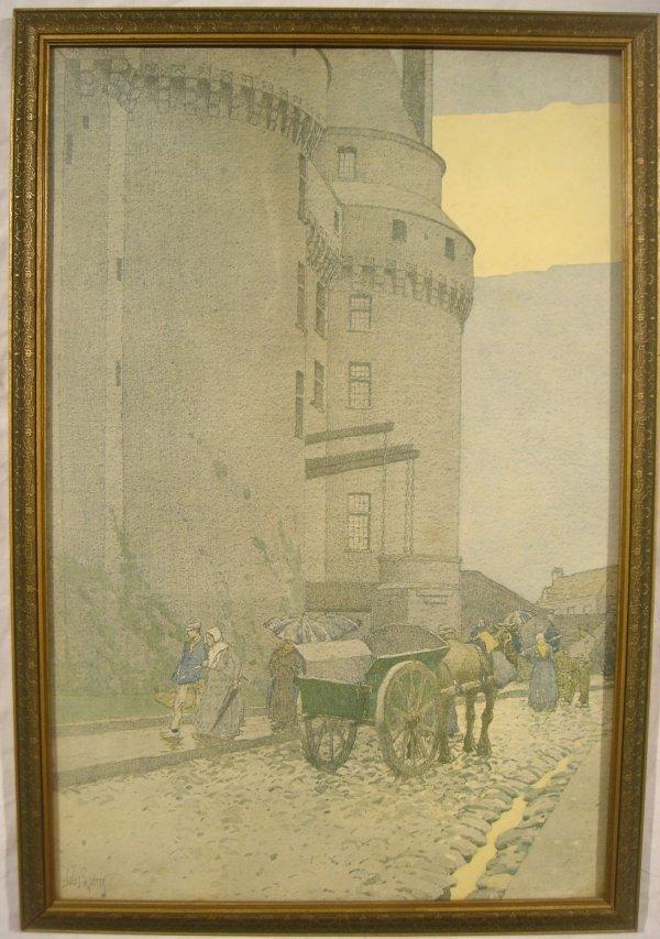 4294: Jules Guerin MEDIEVAL CASTLE Street Framed