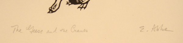 5219: SIGNED Elfriede Abbe GEESE CRANES Wood Print Aeso - 2