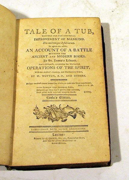 7001: Swift TALE OF A TUB c1798 C. Cooke Engravings