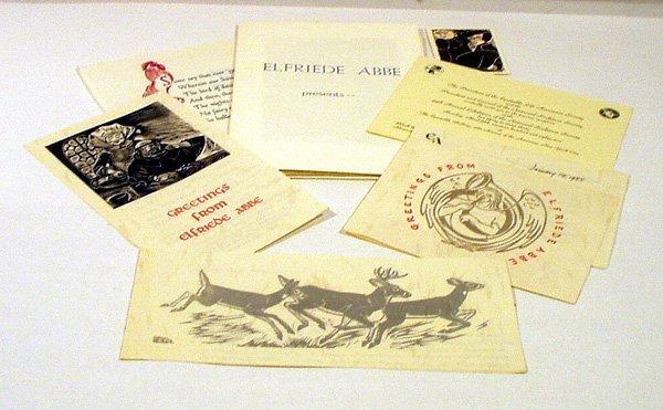 1076: SIGNED Ephemera ELFRIEDE ABBE Woodcuts Cornell
