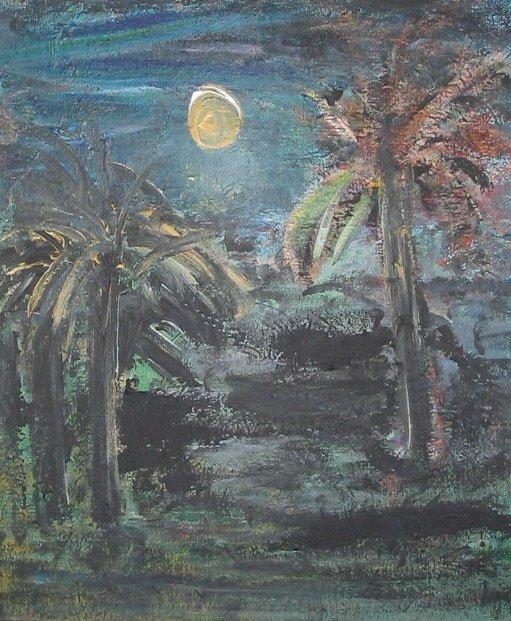 3012: R. G. Bell TROPICAL DUSK Oil Painting c1960 NY