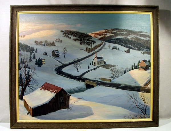 3035: H CLAY Original Oil Painting 1968 Pennsylvania