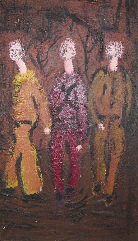 3072: R. G. Bell LONGNECKS Oil Painting c1960 Ithaca