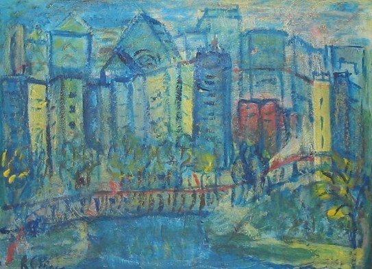 3092: R. G. Bell CITY BRIDGE Oil Painting c1960