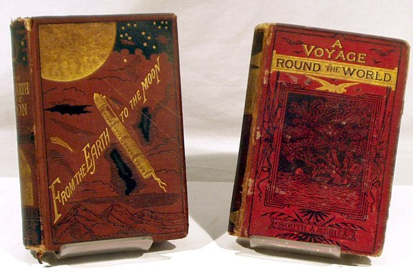 3005: 2V Earth Moon Voyage JULES VERNE Early Editions