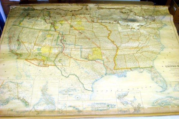 5029: 1903 United States WALL MAP Hawaii Panama Alaska