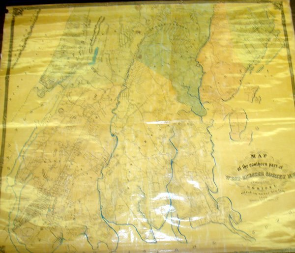 5115: 1853 Westchester County NY WALL MAP Mount Vernon