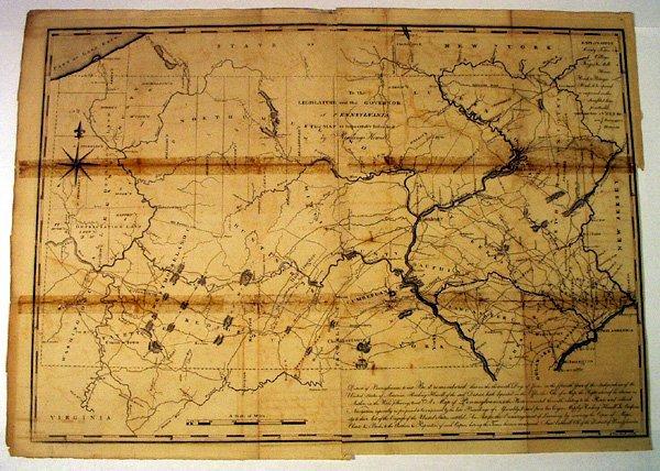 8007: Reading Howell MAP OF PENNSYLVANIA 1791 Rare