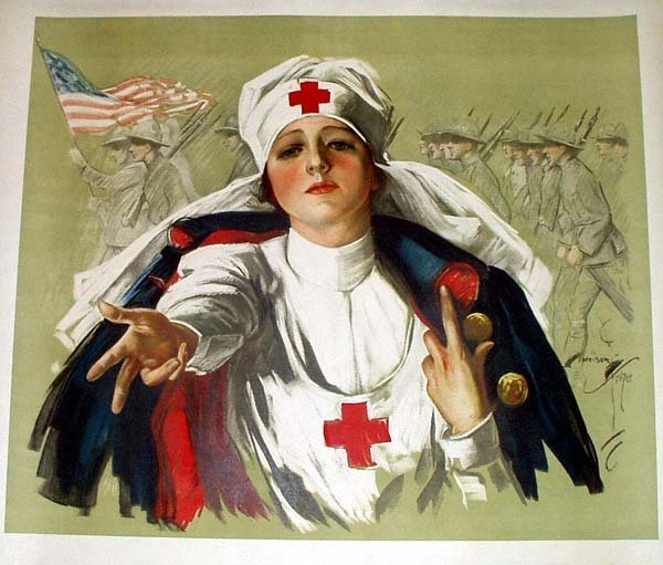 1014: Harrison Fisher RED CROSS NURSE Column Soldiers