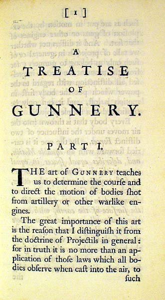1418: Gray TREATISE OF GUNNERY 1731 Mathematics First - 2