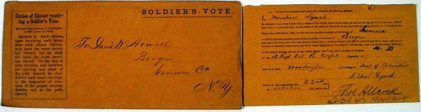 9003: CIVIL WAR SOLDIER'S BALLOT POWER OF ATTORNEY 1864