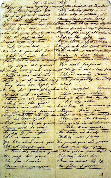 9007: OF BRAVE WOLF Late 18th C. Manuscript Poem Rare