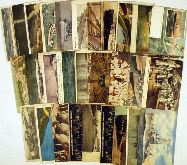 9009: 35Pc ANTIQUE VINTAGE WARSHIP POSTCARDS Navy Yards