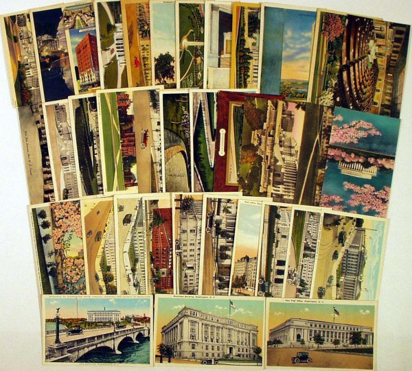 9021: 100Pc ANTIQUE WASHINGTON DC POSTCARDS Monuments