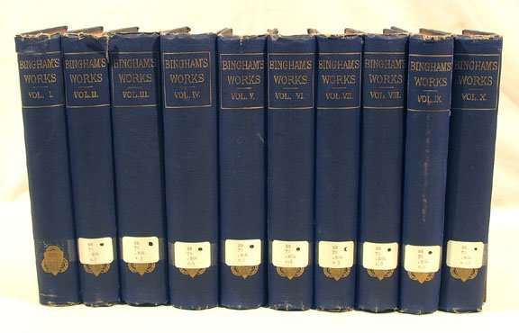 1015: WORKS OF JOSEPH BINGHAM 10 vols. 1855