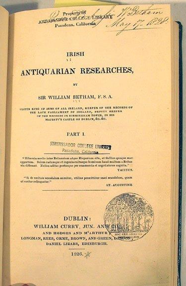 1053: Betham IRISH ANTIQUARIAN RESEARCHES Signed 1826
