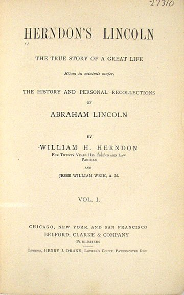 1181: HERNDON'S LINCOLN Weik SIGNED 1889 First Edition  - 2