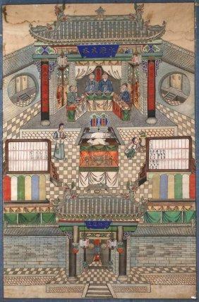 Chinesische Festszene Im Tempel
