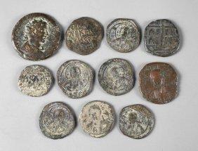 Elf Antike Kupfer- Und Bronzemnzen