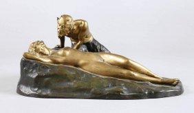 Skulptur Faun Und Nymphe