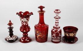 Konvolut Rubin- Und Rubiniertes Glas