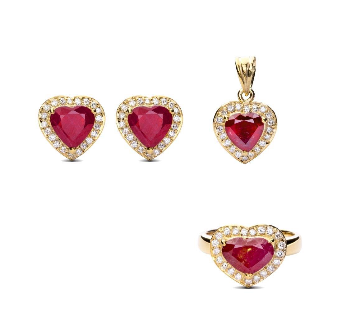 A three piece ruby jewelry set