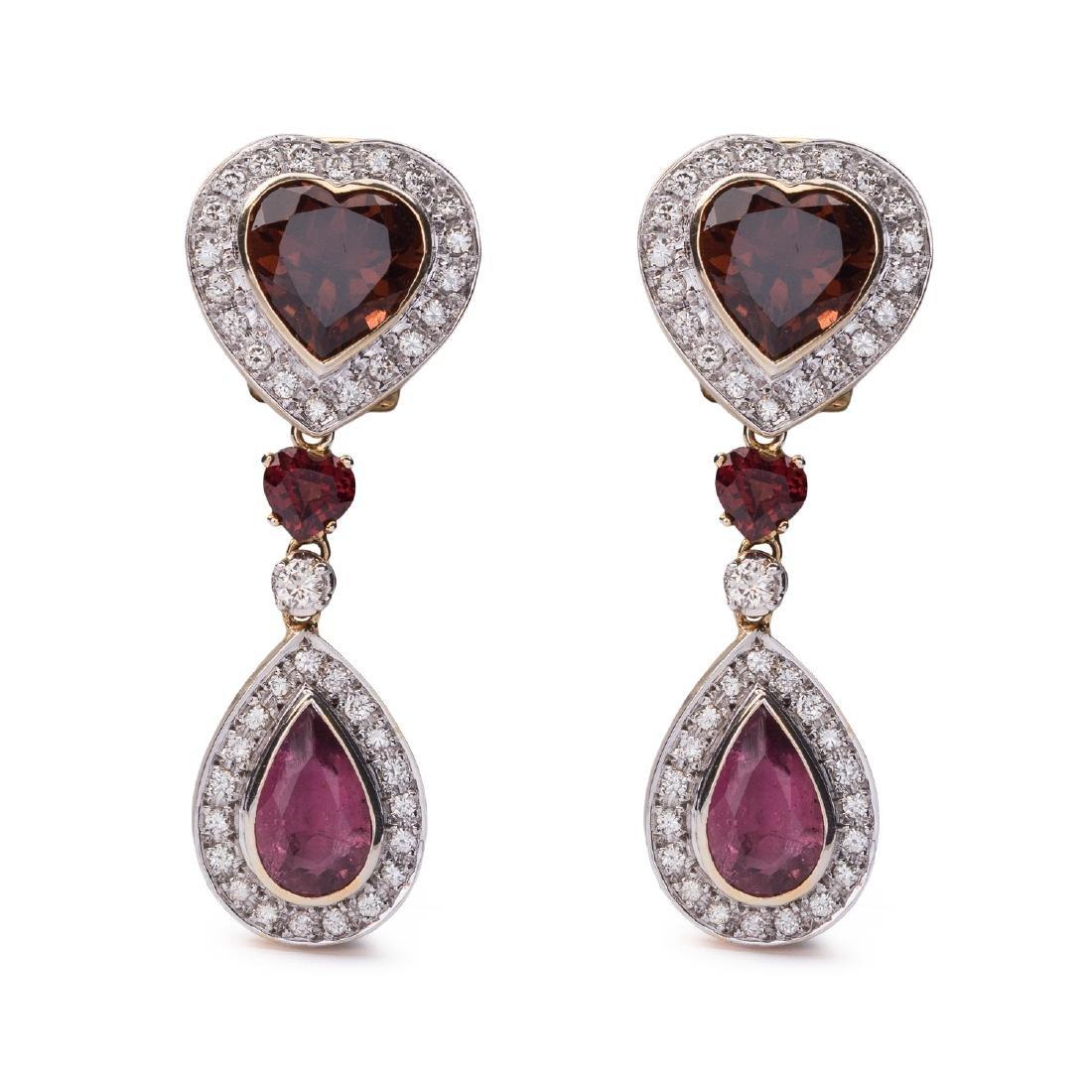 A pair of tourmaline pendant earrings