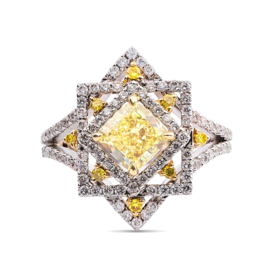 A GIA-certified fancy yellow diamond ring