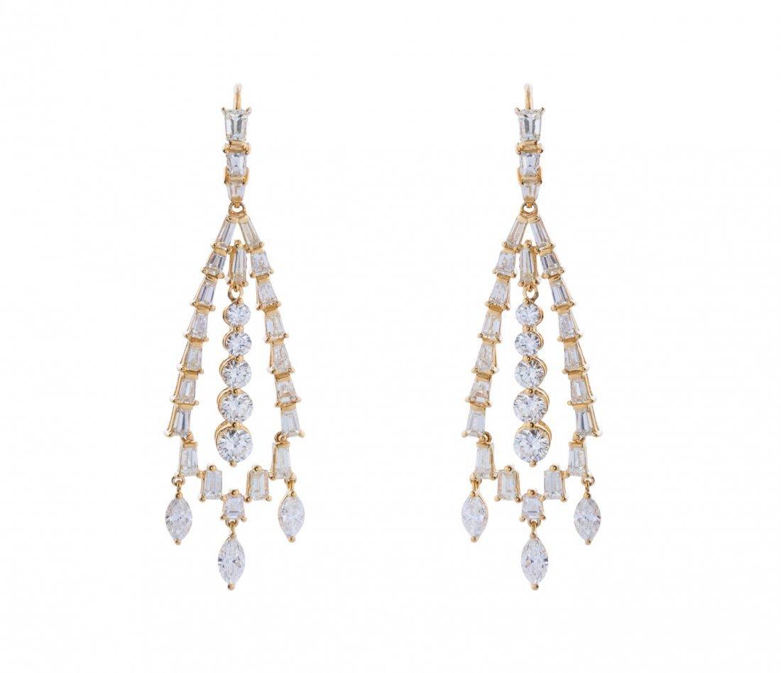 A pair of diamond chandelier earrings