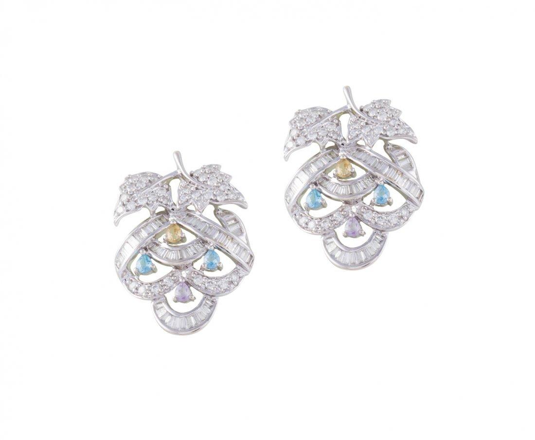 A pair of colored gemstone earrings