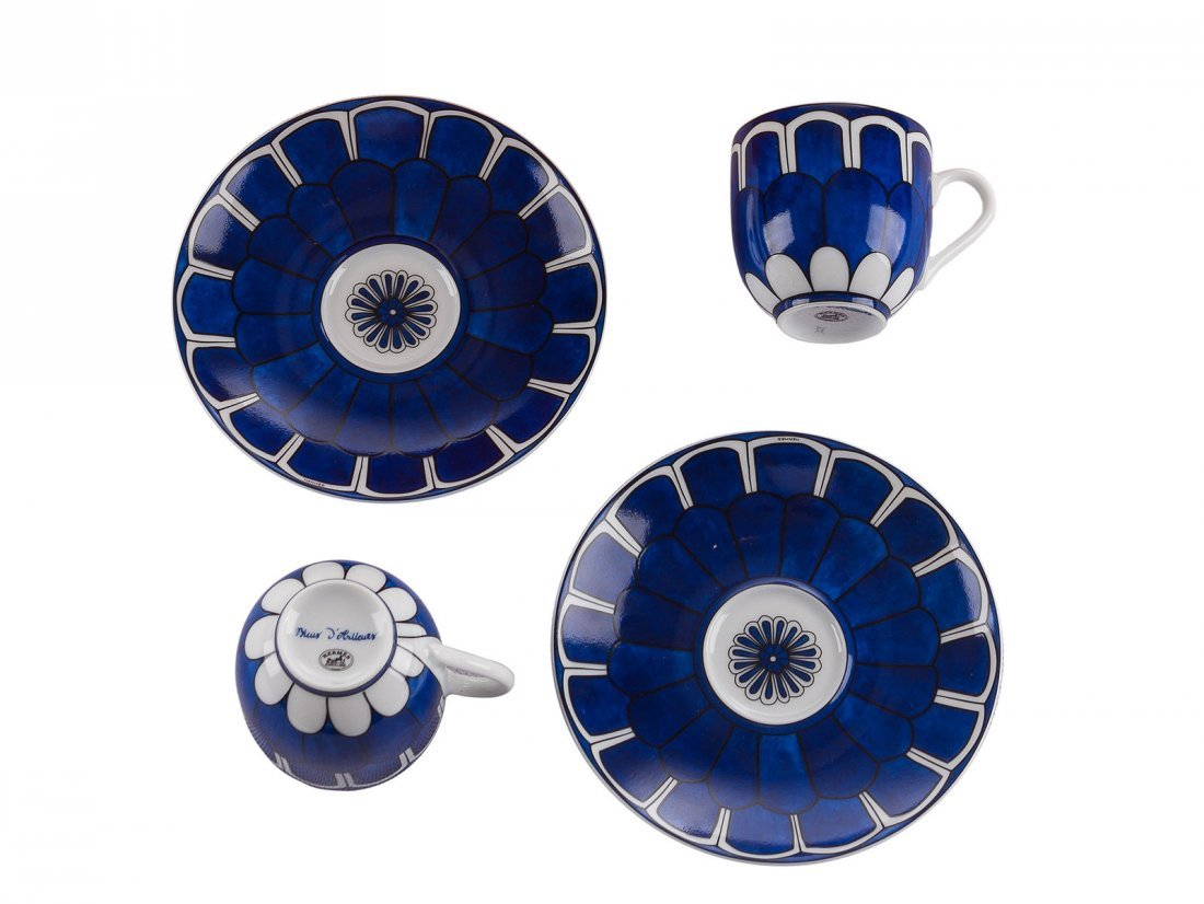 "Hermes -A four piece ""Bleaus d'Ailleurs"" teacup and"