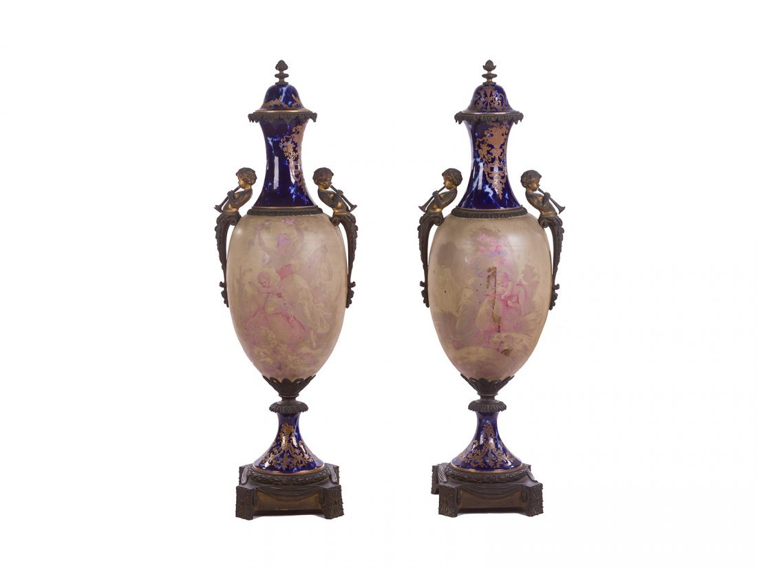 Sevres -A pair of gilded vases