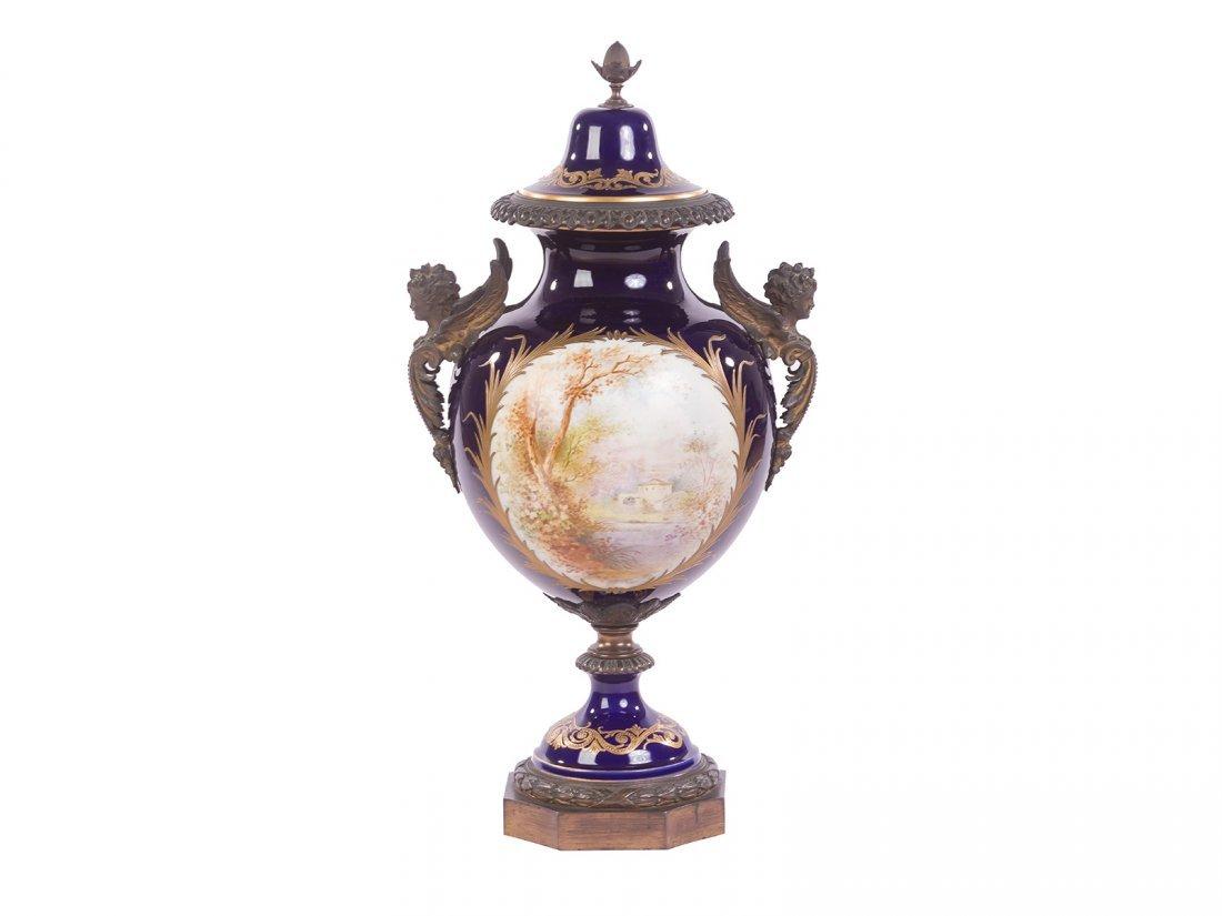 Sevres -A fine gilded mantlepiece vase