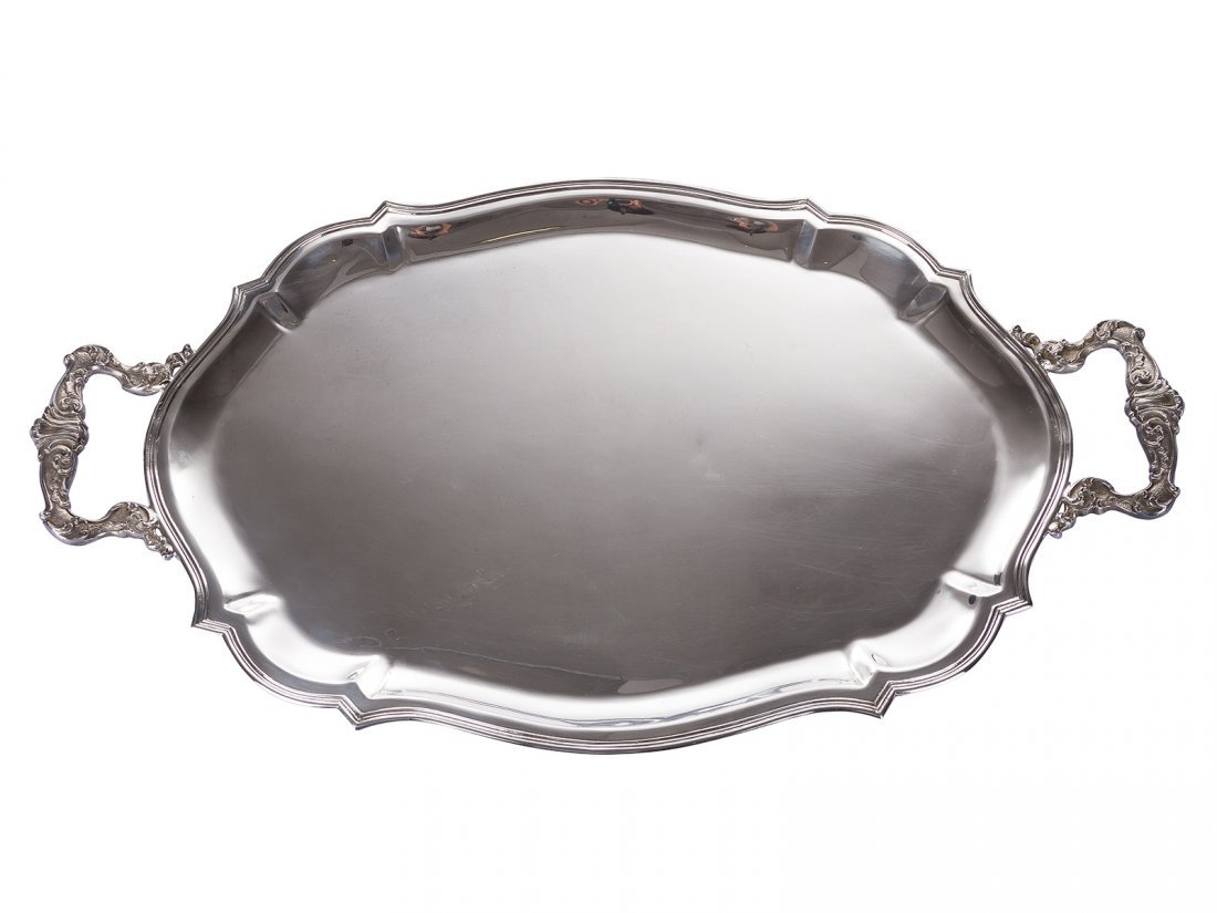 A large silver Italian serving tray