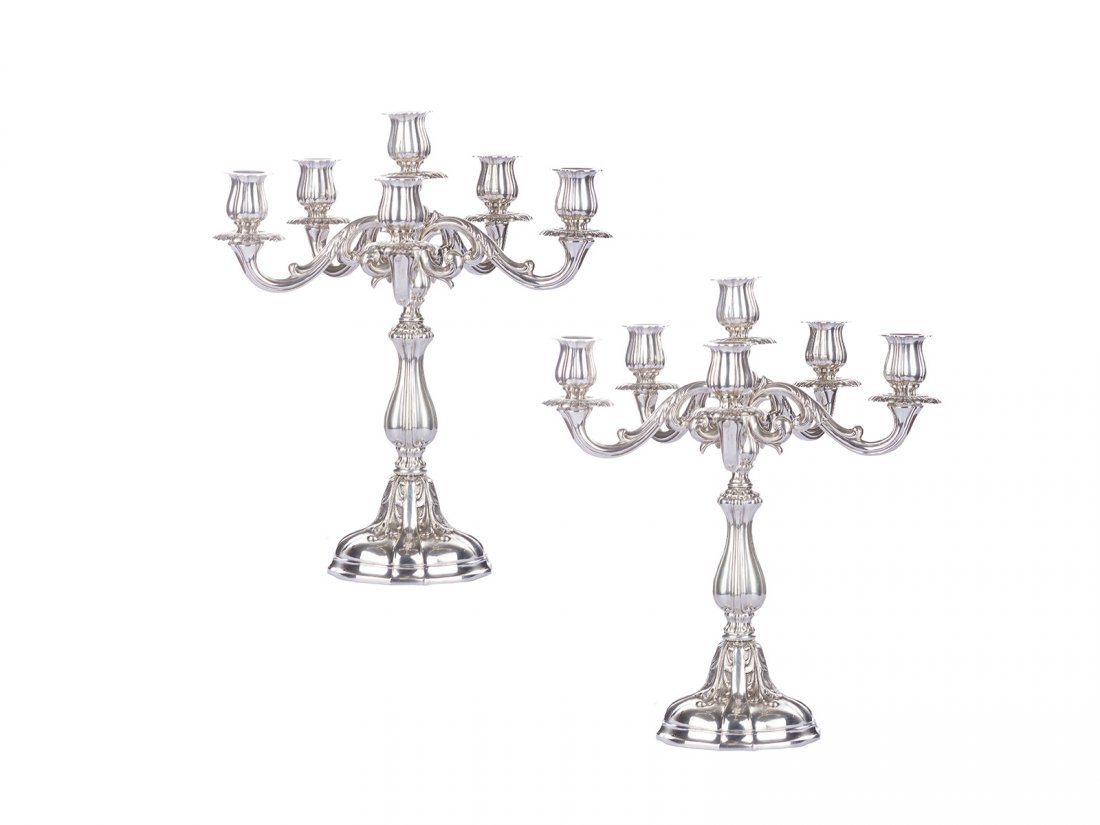 A pair of Italian silver candelabras (6 candles) with