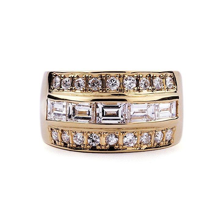 A diamond-set barrel ring