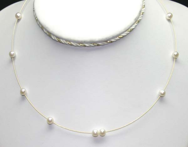3006: 14K GOLD  5 MM PEARLS  NECKLACE  16'' INCHS.