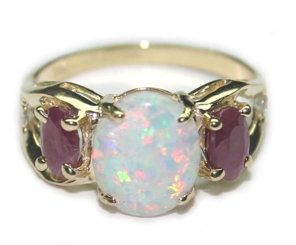 5103: 2.30 CT DIA  RUBY & OPAL 3 GR  14K GOLD RING.