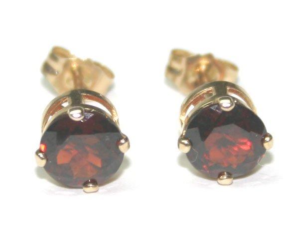 2275: 2 CT GARNET 14KT GOLD STUD EARRINGS.