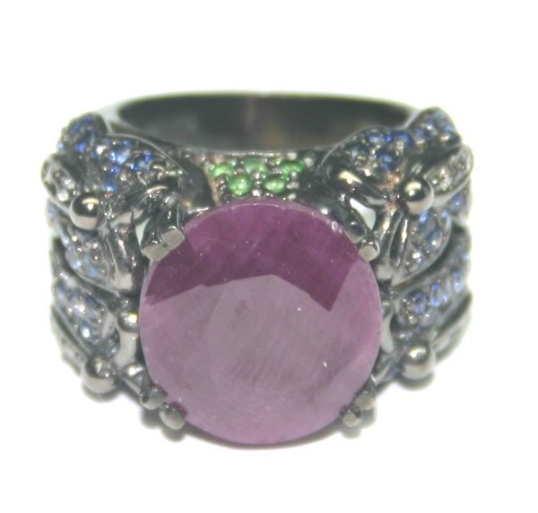 5014: 15 CT DIAM & MULTI COLOR GEM 20 GR 14KT GOLD RING