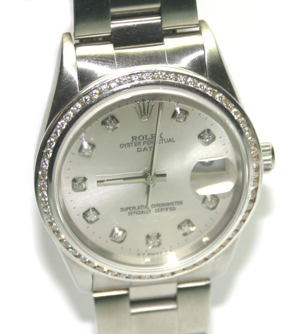 4464: ROLEX  STEEL/DIAMOND  MEN'S DATE JUST  WATCH.