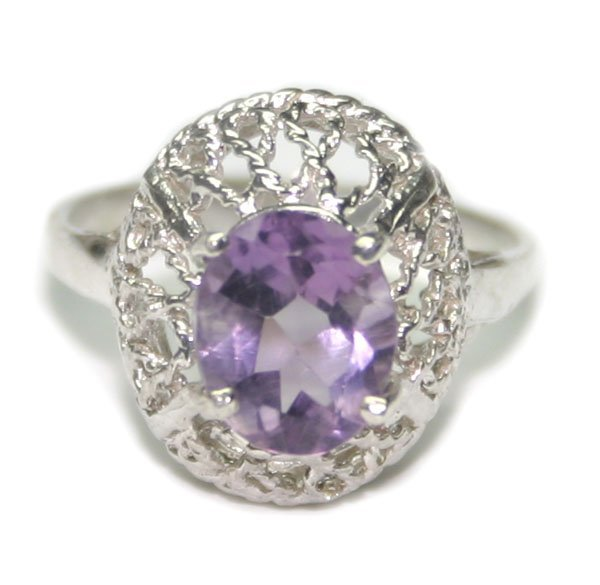 2005: 1.50 CT NATURAL AMETHYST  SILVER RING.