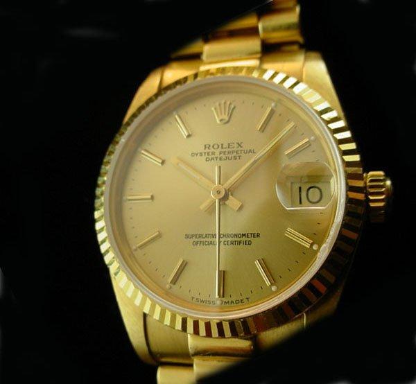 4122: ROLEX Midsize Solid 18K Gold President Watch WOW