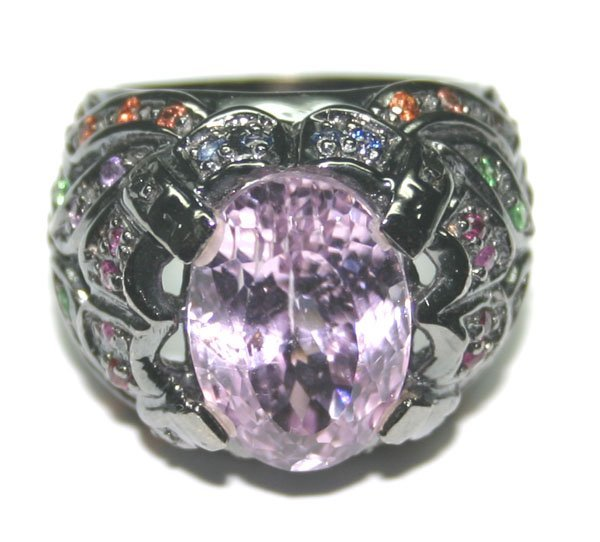 1001: 10.CT MULTI  COLOR GEM  19 GR 14K GOLD RING.
