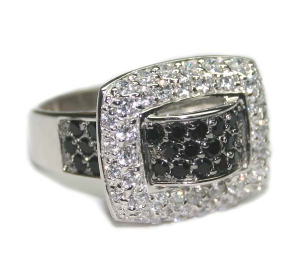 1020: 2.50 CT B/W LAB  SAPPH SILVER  RING .