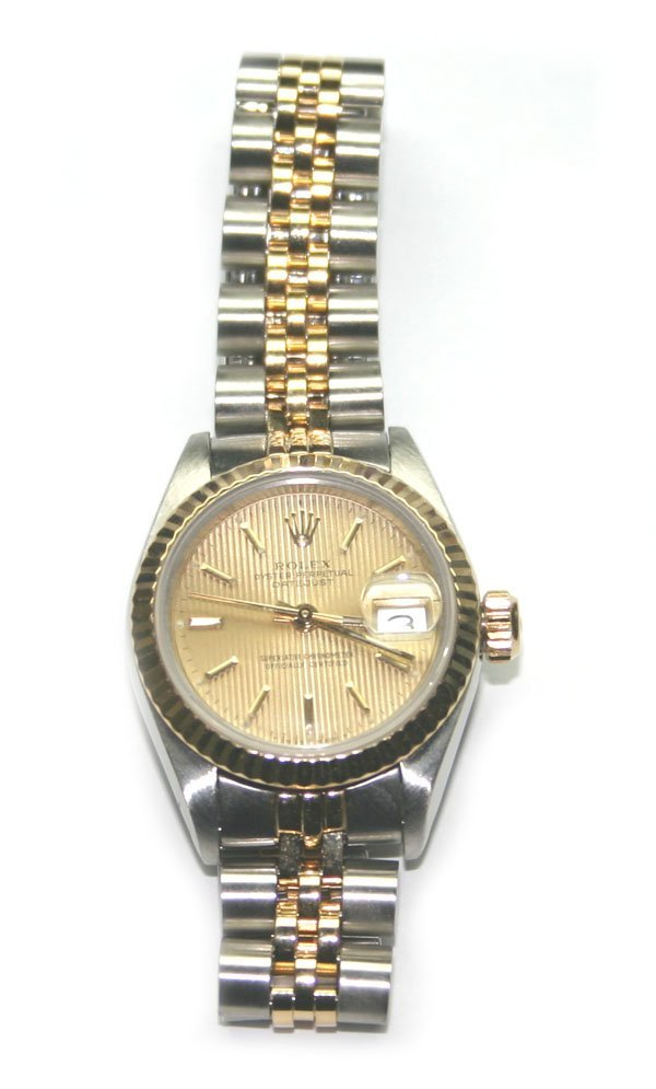 1586: ROLEX  OYSTER  PERPETUAL DATE JUST LADY'S WATCH.