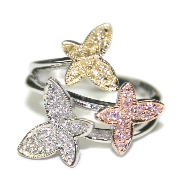 2012: MULTI COLOR  BUTTERFLY SILVER RING .