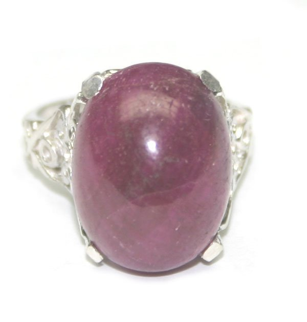 4005: 20 CT  NATURAL RUBY  SILVER RING.