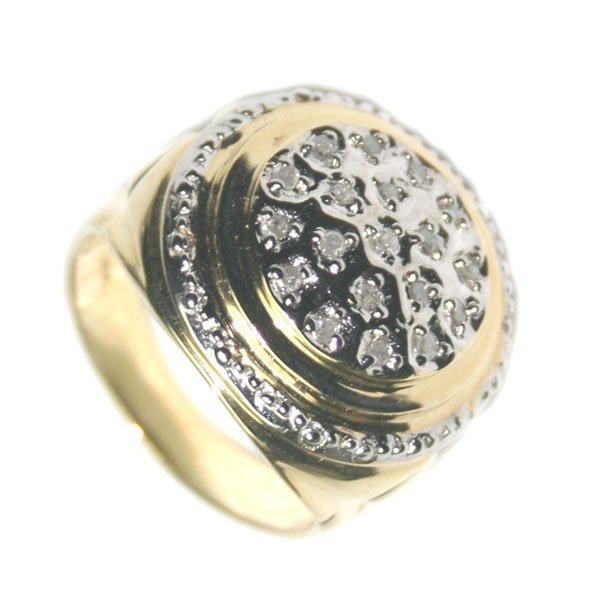 5033: 0.40 CT DIAMOND 11.70 GR 14KT GOLD MAN'S RING.