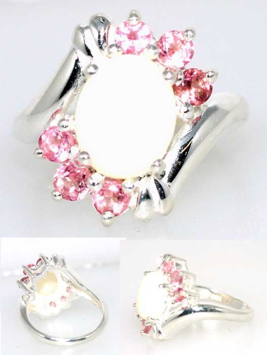 5009: 5 CT OPAL AND LAB PINK SAPP SILV